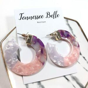 Cardi Pink Acrylic Purple Thick Circle Stud Hoop E